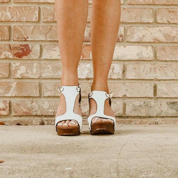 T-strap Open Toe White Platfrom Block Heel