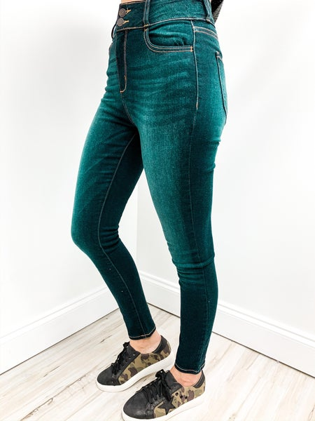 Double Button Dark Jeans