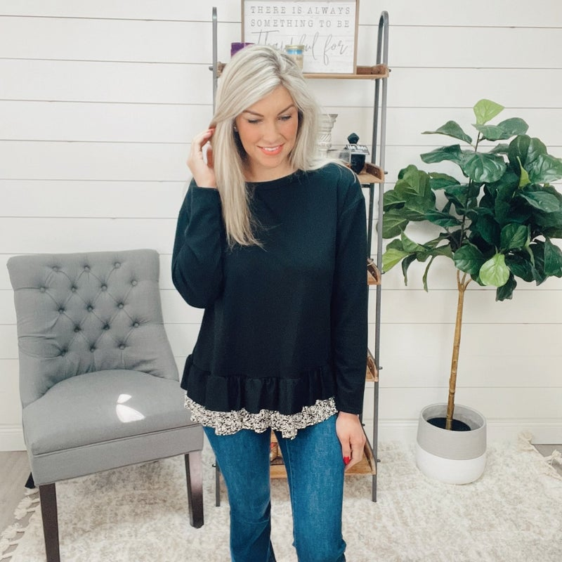 Black French Terry Long Sleeve Top