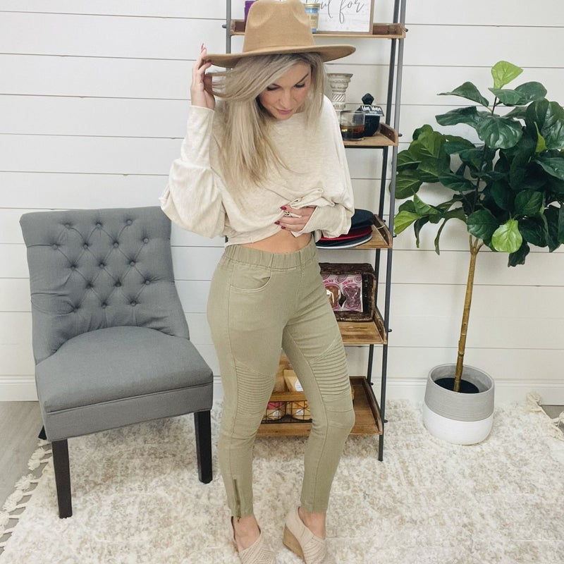 ON SALE - Olive Cropped Moto Jeggings- normally 52.95