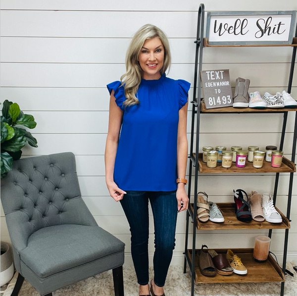 Crew Neck Solid Ruffle Loose Top - Blue
