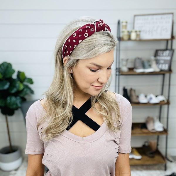 Maroon LV Inspired Headband
