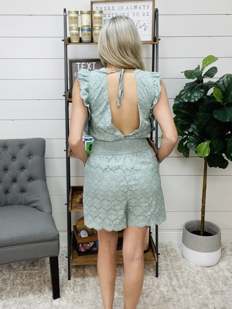 Normally 61.95 - Sage Crochet Tie Back Romper