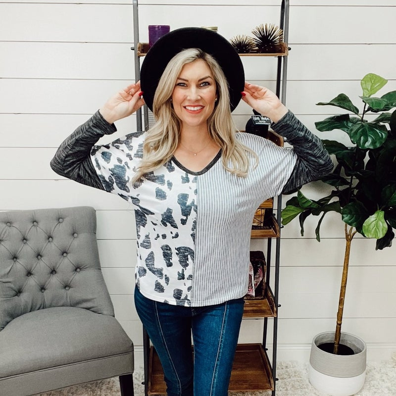 ON SALE - Spotted Color Block Top- normally 30.99