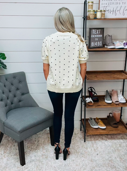 Plus Ivory Top with Black Polka Dots
