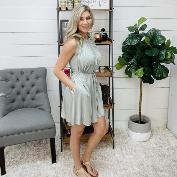 normally 44.95 - Sage Green Silk Dress