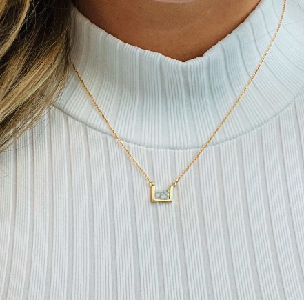 on sale - Dainty Marble Square Necklace- NORMALLY 24.99