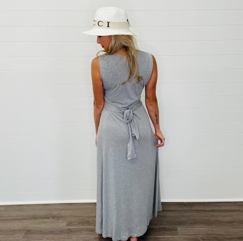 Solid Basic V-Neck Maxi Dress