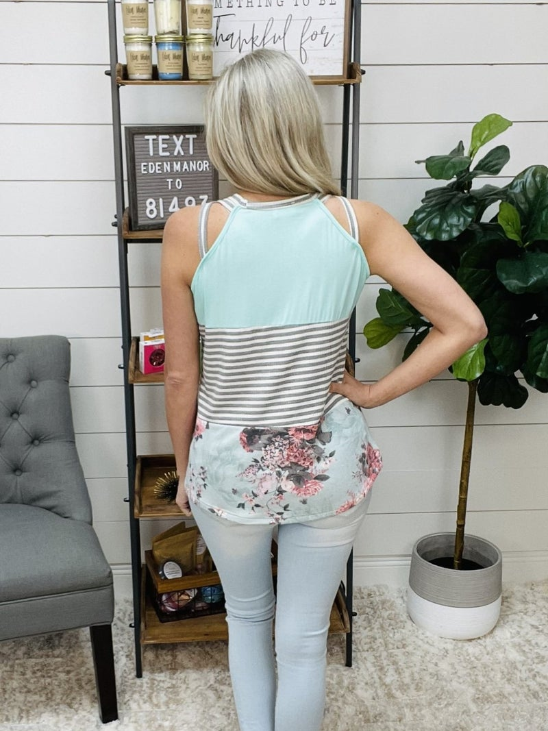 Tri Patterned Tank Top with Criss Cross Detail