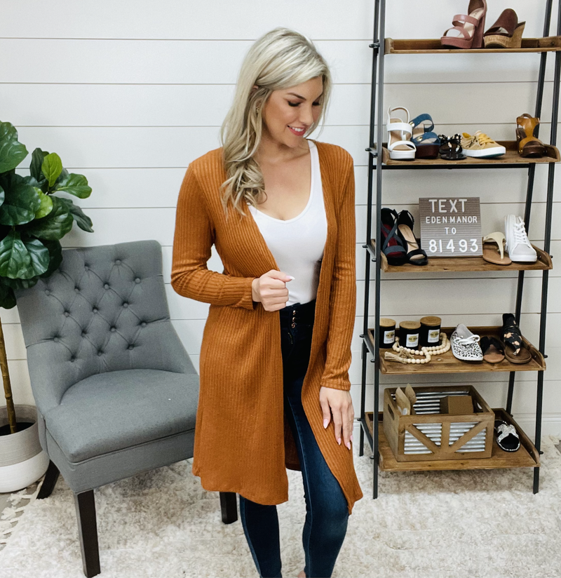 Long Sleeve Rib Knit Open Front Cardigan Duster
