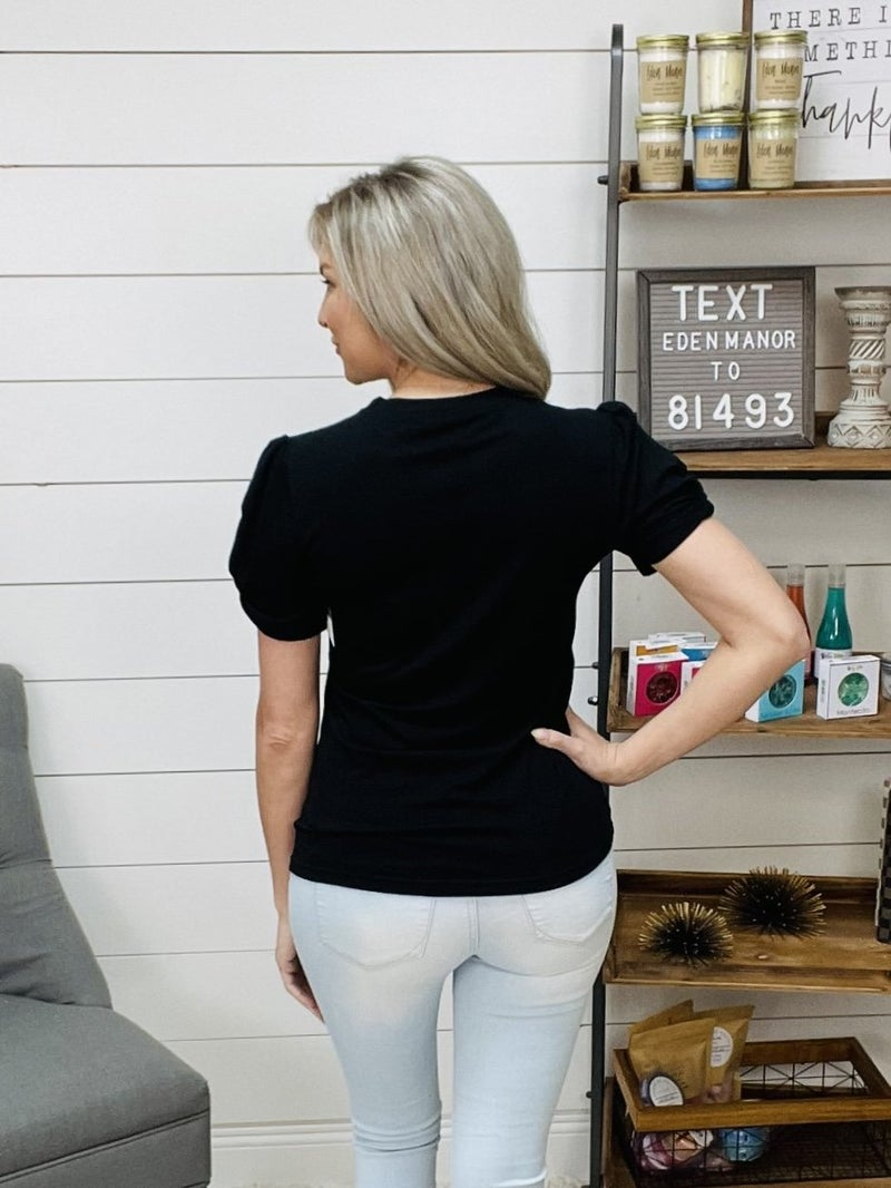 Basic Black Tee with Fitted Sleeves