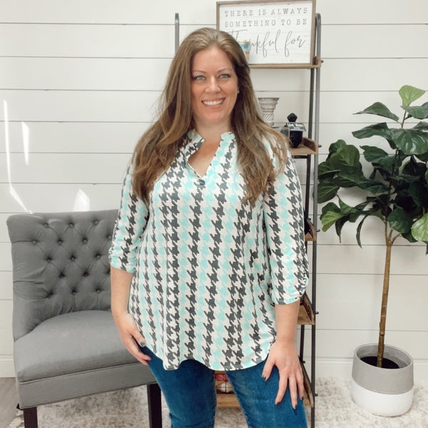 Houndstooth Teal and Grey Blouse
