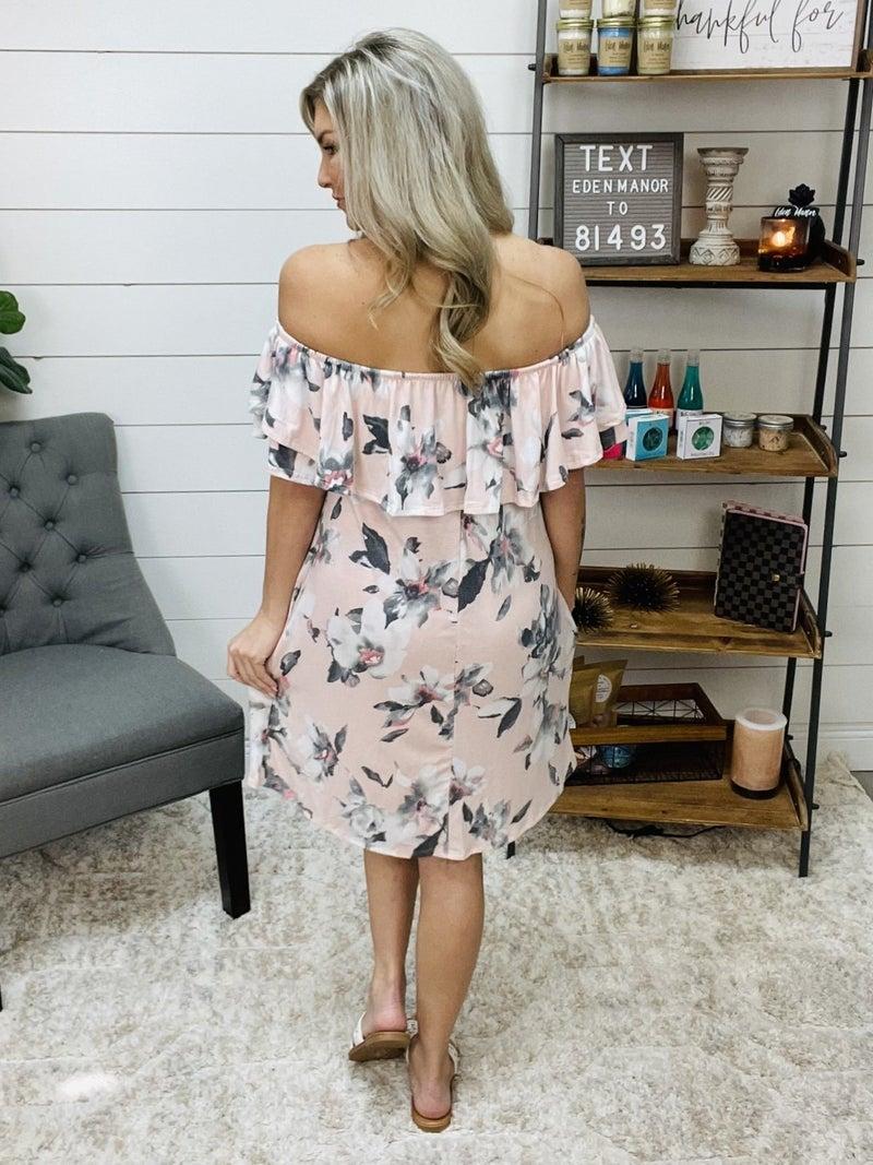 normally 44.95 - Light Pink Off the Shoulder Sun Dress