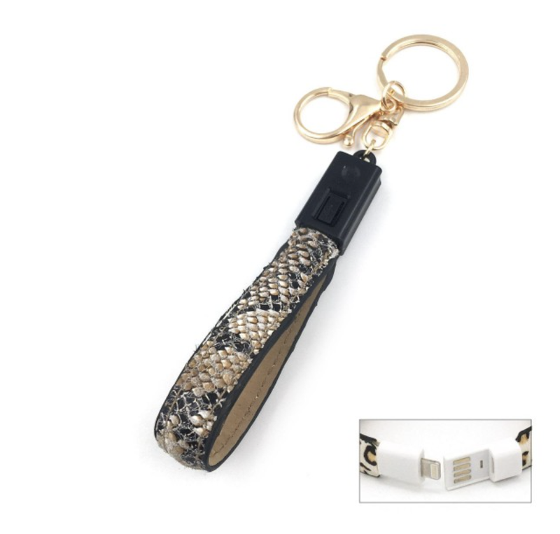 Iphone USB Charging Cord Keychain Snakeskin
