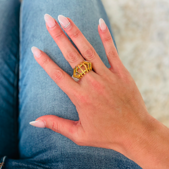 ON SALE - Gold Open Pyramid Ring