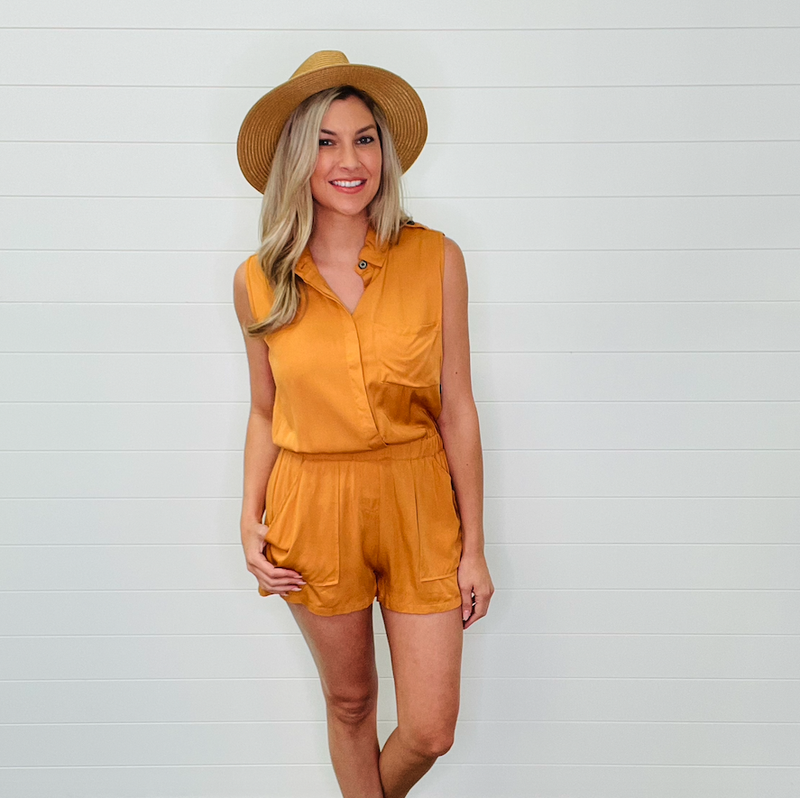 Solid Basic Button Down Romper