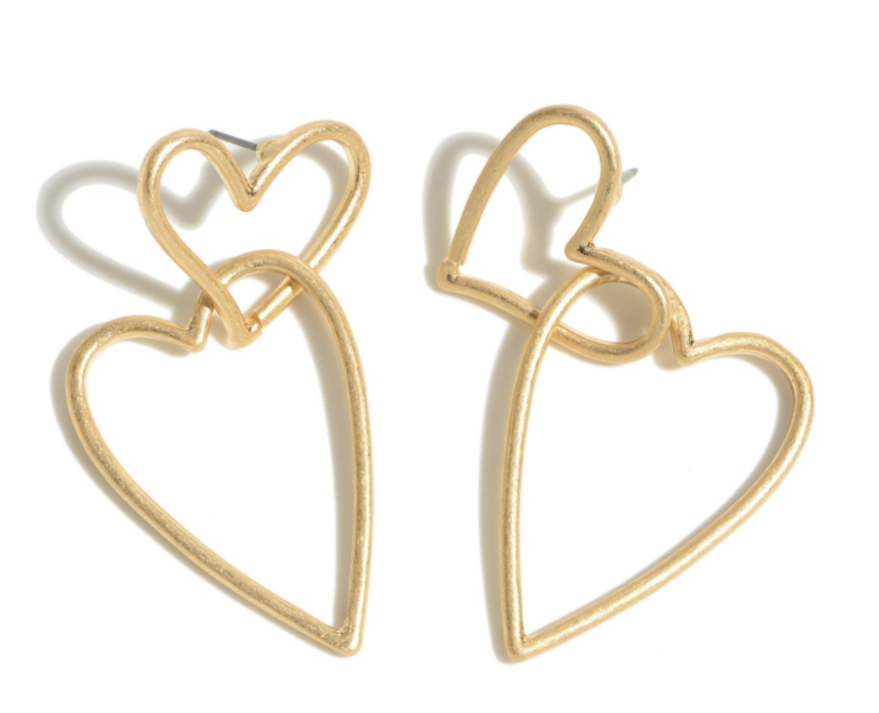 Interlocked Heart Drop Earrings - GOLD