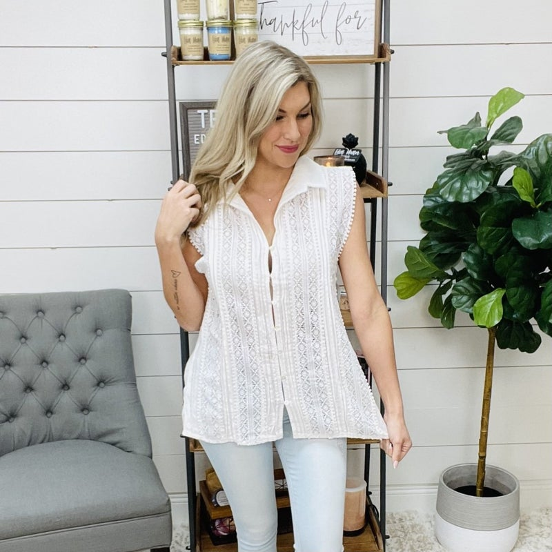 on sale - POL Ivory Woven Crochet Top - normally 52.95