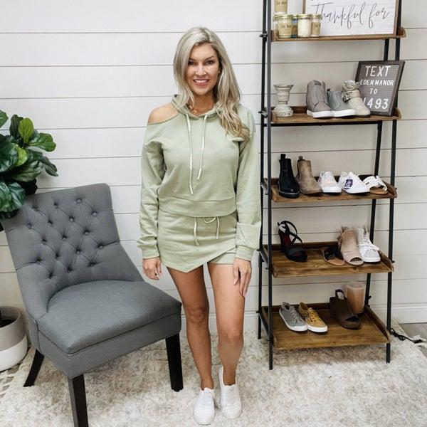 Lelis Sage Green Hoodie and Shorts Lounge Set