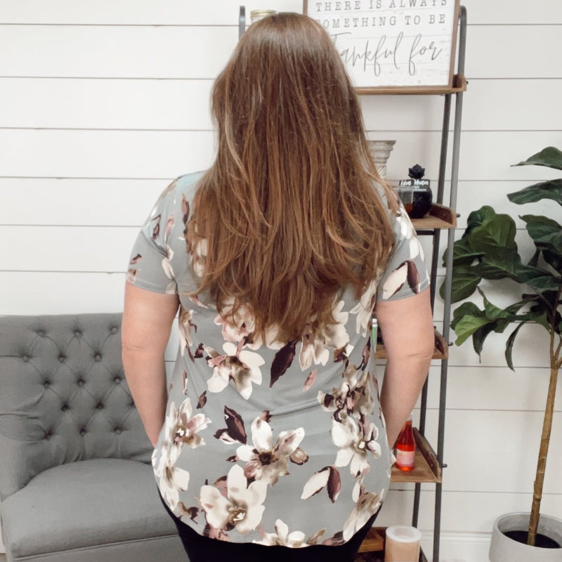 ON SALE -Grey Sequin Pocket Floral Plus Top-normally $34.95