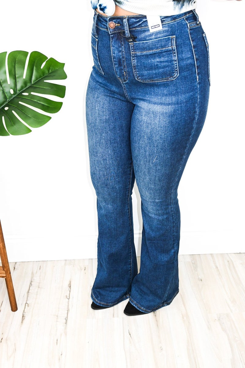 Dark Wash Flare Jeans with Front Pockets