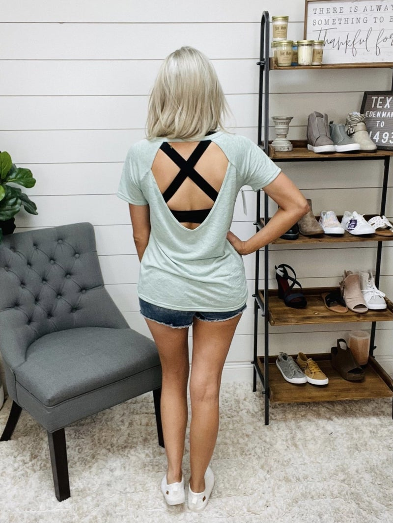normally 39.95 - Thin Knit Open Back Tee