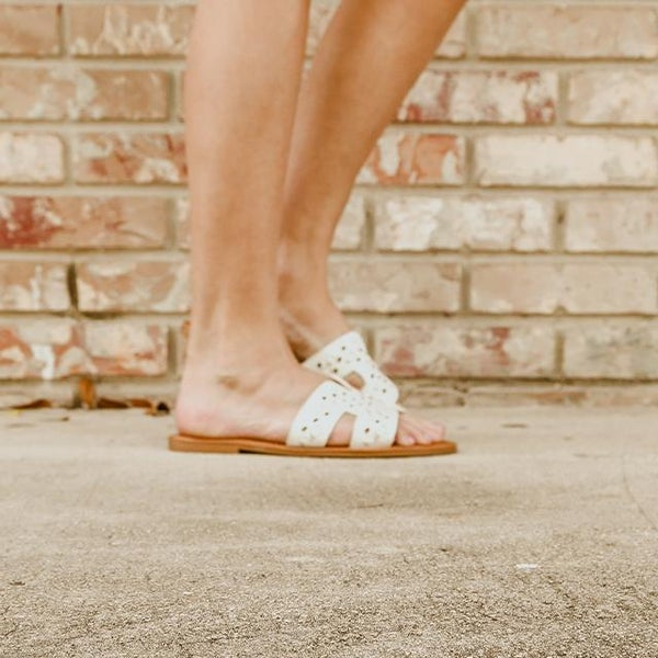 Woven White Sandals