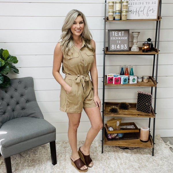 on sale - Brown Utility Romper