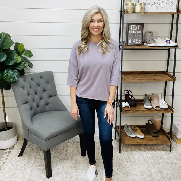 Dusty Lavender 3/4 Sleeve Layered Top