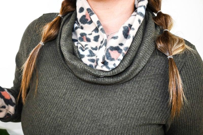 Leopard double turtle neck sweater