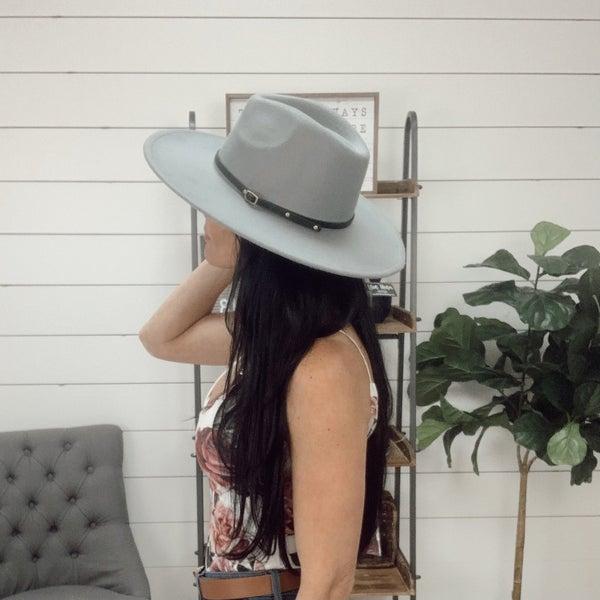 Grey Wide Brim Hat