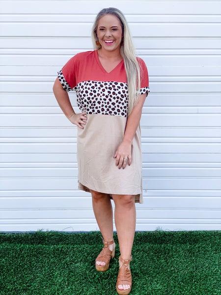 'Somebody You Want' Cheetah Colorblock Dress