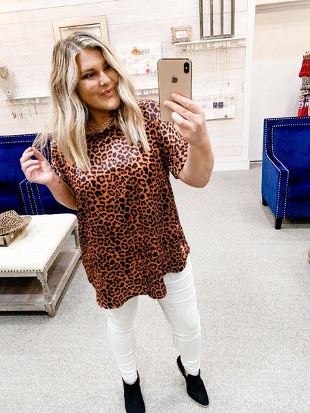 'Calling You Mine' Silky Cheetah Print Blouse