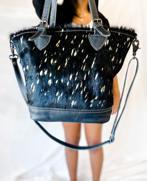 'Spotted In the Streets' Gold Speckle Hairon Tote