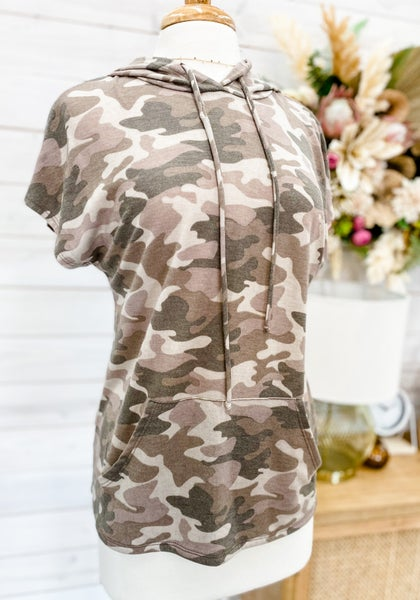 'Hide From You' Camo Hooded Top