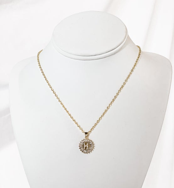 Burst Monogram Necklace Round Crystal