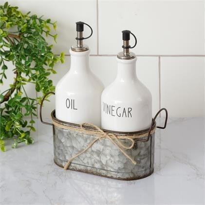Ceramic Oil and Vinegar Cruets with Galvanized Caddy