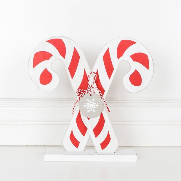"""10.5"""" X 10.5"""" X 1"""" Wood Shape (Candy Cane), Red/White"""