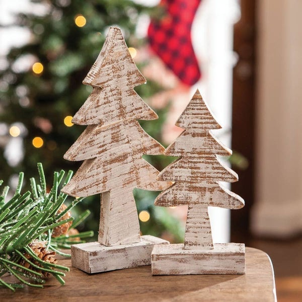 Distressed Wooden Tree 8 Inches