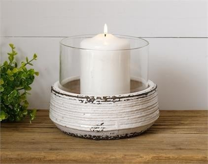 Ceramic Pot Candle Holder with Hurricane Glass