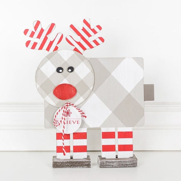 """11"""" X 13"""" X 1.5"""" Wood Rudolph Shape (Believe), Red/White/Gray"""