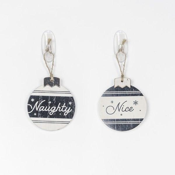 """3.5"""" X 4"""" X .25"""" Round Wood Ornament (Naughty/Nice), White/Black"""