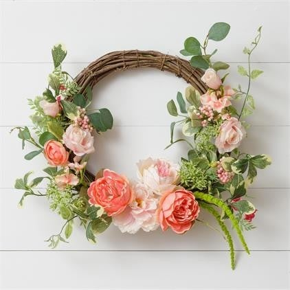 Wreath- Twig Peonies, Roses