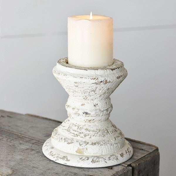 """6.25"""" ANTIQUE WHITE CANDLE HOLDERS"""