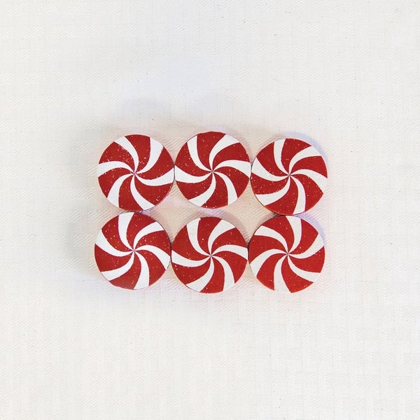 """1.75"""" X 1.75"""" X .35"""" Set of 6 Wood Shape Tiles (Peppermints) White/Red"""