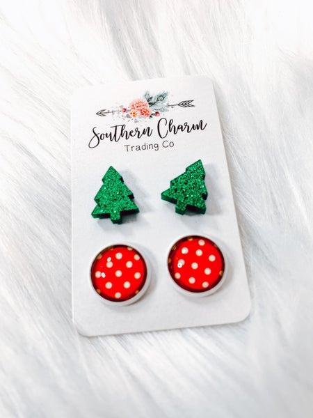 Christmas Tree & Red/White Polka Dots Stud