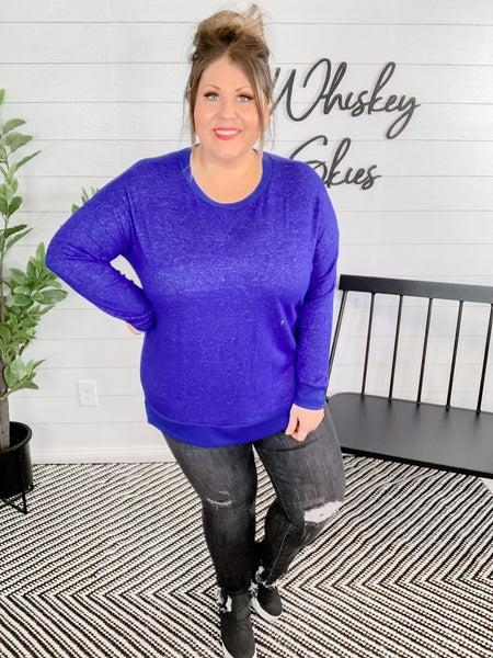PLUS/REG Royal Blue Long Sleeve Plush Knit Sweater
