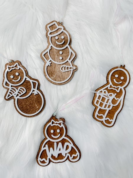 Naughty Gingerbread Wooden Pornaments (4 Types)