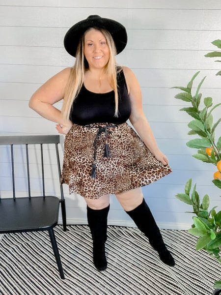 PLUS/REG Pleated Leopard Skirt