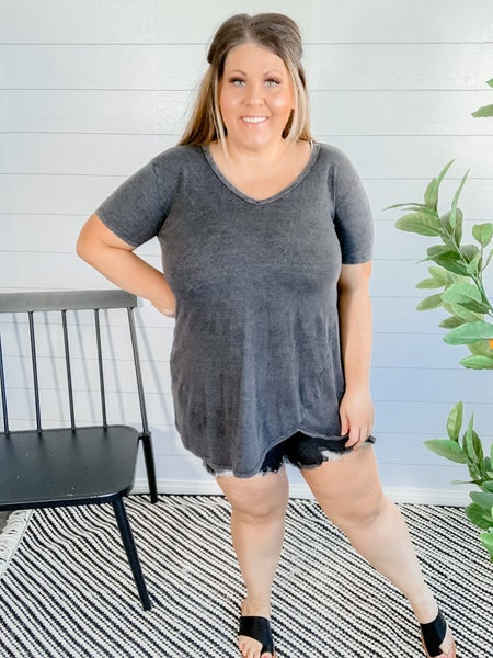 PLUS/REG Mineral Washed Top *FINAL SALE*